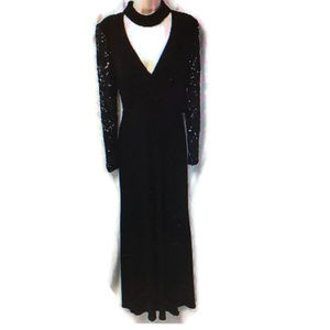 Betsy & Adam Black Formal Gown Long Sleeve 10 NWT